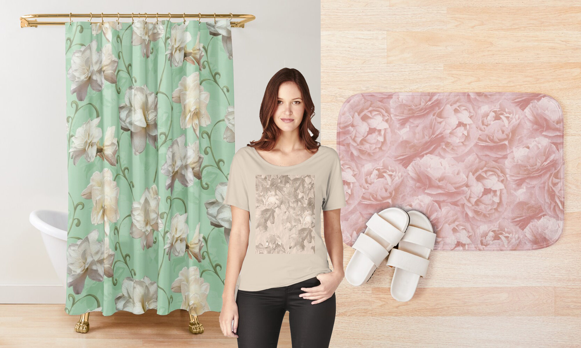 Shower crtain, T-shirt and bathroom mat with flower motives.